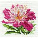 Розовый пион, набор для вышивания крестиком 10х11см 14цветов Алиса