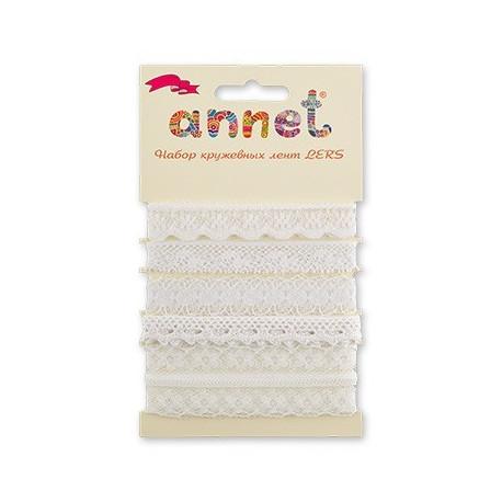 Белый, набор кружевных лент, 5шт по 1м, Annet
