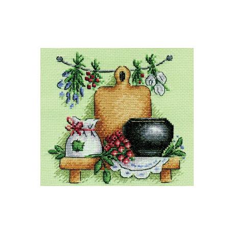 Целебные травы, набор для вышивания крестиком 14х14см 21цвет Panna