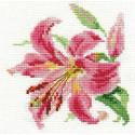 Лилия, набор для вышивания крестиком 11х12см 16цветов Алиса