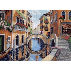 Лето в Венеции, канва с рисунком для вышивки нитками 33х45см. Матрёнин посад
