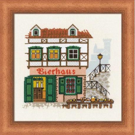 Bierhaus, набор для вышивания крестиком, 18х18см, мулине хлопок Anchor 18цветов Риолис