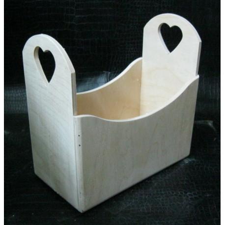 Корзинка с сердечками 8,5*17*7см, деревянная заготовка фанера 6мм