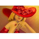 Дама в красном, рисунок на шелке для вышивки бисером 37х49см. Матрёнин посад