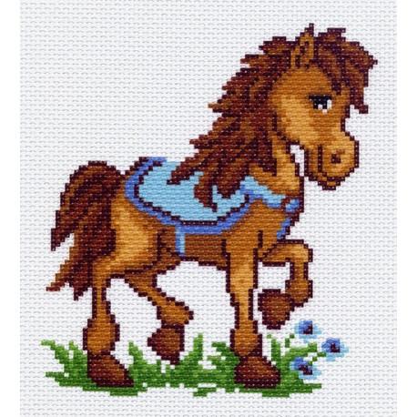 Пони Митя, канва с рисунком для вышивки нитками 16х20см. Матрёнин посад