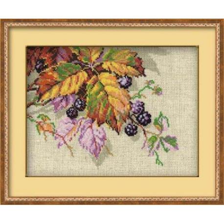 Ежевика, набор для вышивания крестиком 26х20см нитки шерсть Safil 14цветов Риолис