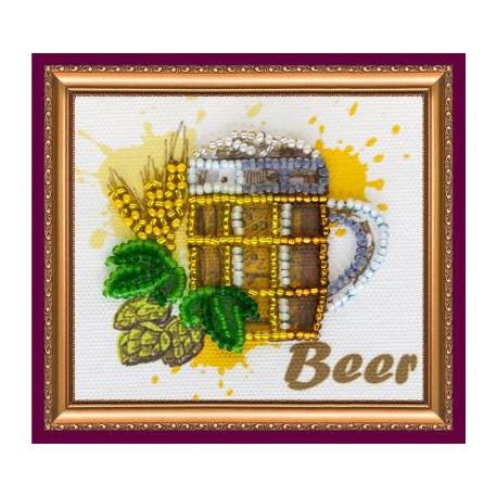 Пивко, набор-магнит для вышивки бисером, 8х7см, 7цветов АбрисАрт