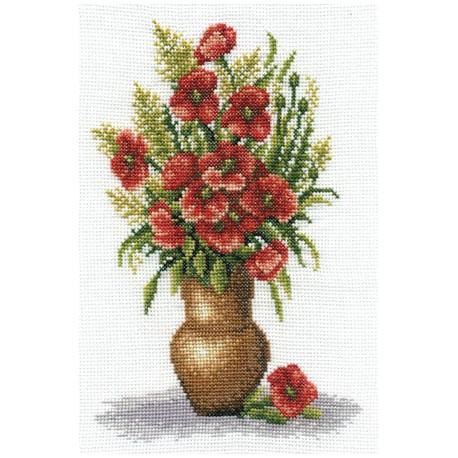 Букет маков, набор для вышивания крестиком 17х25см 22цвета Panna