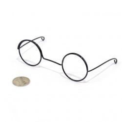 Очки без стекла, черные диаметр 3см круглые, металл