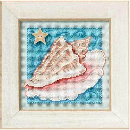 Раковина, набор для вышивания бисером и нитками на перфорированной бумаге, 13х13см Mill Hill