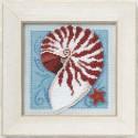 Морская раковина, набор для вышивания бисером и нитками на перфорированной бумаге, 13х13см Mill Hill