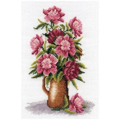 Букет пионов, набор для вышивания крестиком, 17х25см, 22цвета Panna