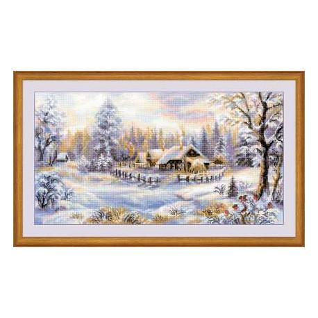 Зимний вечер, набор для вышивания крестиком, 41х23см, мулине хлопок Anchor 27цветов Риолис