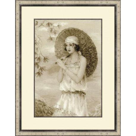 Старая фотография.Ривьера, набор для вышивания крестиком,26х38см, нитки шерсть Safil 12цветов Риолис