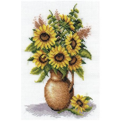 Букет подсолнухов, набор для вышивания крестиком, 17х25см, 22цвета Panna