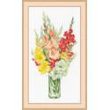 Букет гладиолусов, набор для вышивания крестиком, 24х48см, нитки шерсть Safil 18цветов Риолис