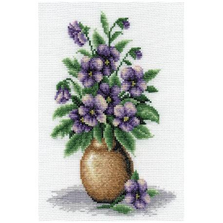Букет анютиных глазок, набор для вышивания крестиком 17х25см 22цвета Panna