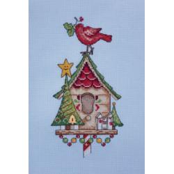 Новогодний скворечник, набор для вышивания крестом 11х22см мулине Finca канва Zweigart 14 Neocraft