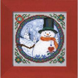 Южный снеговик, набор для вышивания бисером и нитками на перфорированной бумаге, 13х13см Mill Hill