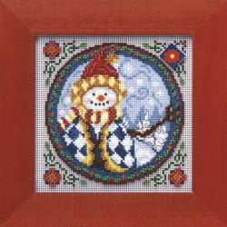 Западный снеговик, набор для вышивания бисером и нитками на перфорированной бумаге, 13х13см Mill Hil