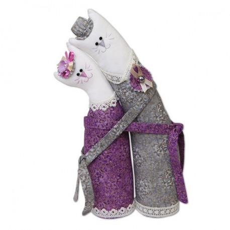 Коты обнимашки серебрянные, набор для шитья Miadolla