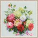 Георгины, набор для вышивания крестиком 45х45см нитки шерсть Safil 30цветов Риолис