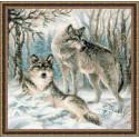 Волчья пара, набор для вышивания крестиком 40х40см нитки шерсть Safil 16цветов Риолис