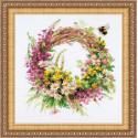 Венок с иван-чаем, набор для вышивания крестиком, 30х30см, мулине хлопок Anchor 28цветов Риолис