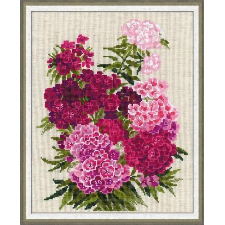 Турецкая гвоздика, набор для вышивания крестиком, 24х30см, нитки шерсть Safil 14цветов Риолис