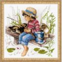 Ловись рыбка, набор для вышивания крестиком, 30х30см, нитки шерсть Safil 24цвета Риолис