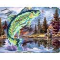 Рыбалка, набор для изготовления мозаики круглыми стразами 20х24см 9цв. частичная выкладка