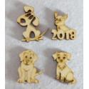 Собачки новогодние, набор заготовок фанера 3мм, размер фигур 5х5см 24шт NK