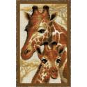 Жирафы, набор для вышивания крестиком 22х38см нитки шерсть Safil 11цветов Риолис