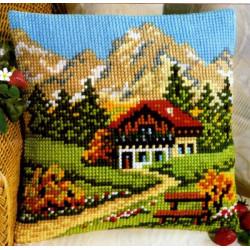 Альпийский пейзаж, подушка для вышивания, канва 100% хлопок, нитки 100% акрил 40х40 см