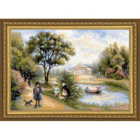 Прогулка в парке, набор для вышивания крестиком 38х26см нитки шерсть Safil 26цветов Риолис