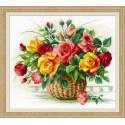 Корзина с розами, набор для вышивания крестиком 35х30см мулине хлопок 29цветов Риолис