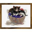 Котята в корзине, набор для вышивания крестиком 30х24см нитки шерсть Safil 23цвета Риолис