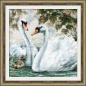 Белые лебеди, набор для вышивания крестиком 25х25см мулине хлопок 23цвета Риолис