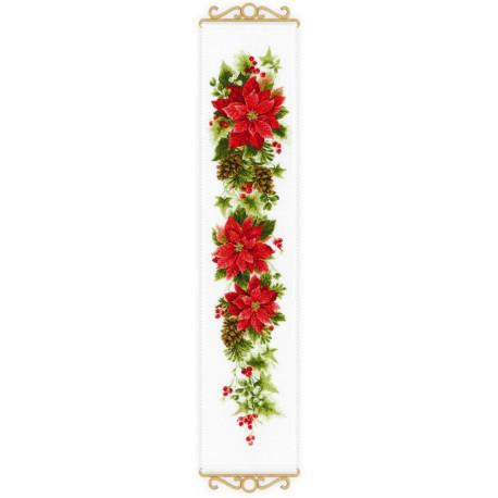 Пуансеттия, набор для вышивания крестиком 19х90см нитки шерсть Safil 17цветов Риолис