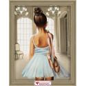 Юная балерина, набор для изготовления картины стразами 30х40см 36цв. полная выкладка АЖ