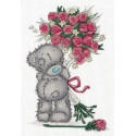 Tatty Teddy с букетом роз, набор для вышивания крестиком, 16х23см, 12цветов Кларт