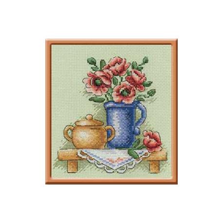 Цветы в кувшине, набор для вышивания крестиком 14х14см 20цветов Panna
