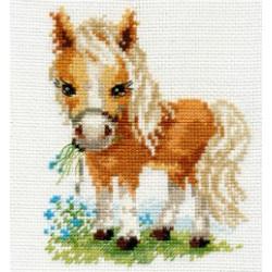 Белогривая лошадка, набор для вышивания крестиком 12х14см 16цветов Алиса