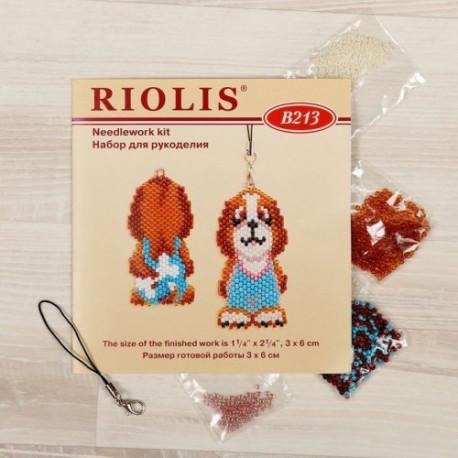 Бобик с косточкой - брелок, набор для бисероплетения. Риолис