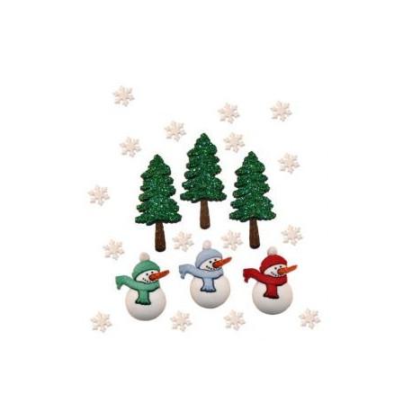 Рождественские праздники, набор пуговиц 6шт пластик Dress It Up