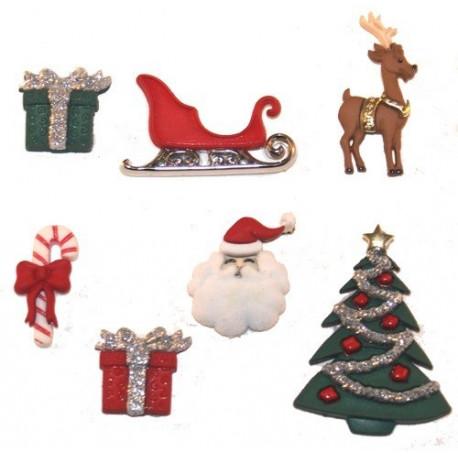 Рождественский сочельник, набор пуговиц 7шт пластик Dress It Up