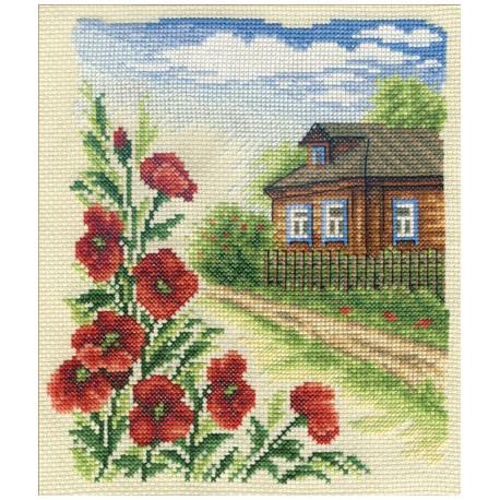Цветы у дома, набор для вышивания крестиком, 16х19см, 27цветов Panna