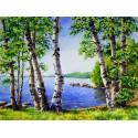Березы у озера, набор для изготовления картины стразами 40х30см 30цв. полная выкладка АЖ