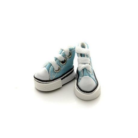 Кеды бирюзовые на шнурках, длина стопы 5см высота 3,3см. Кукольная обувь