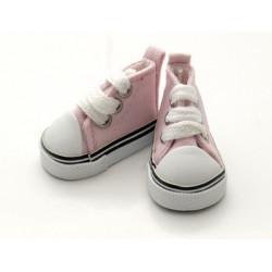 Кеды розовые на шнурках, длина стопы 5см высота 3,3см. Кукольная обувь